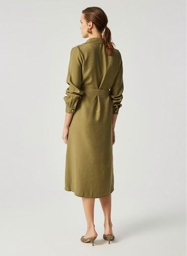 Monamoda Çift Cep Gömlek Elbise Haki